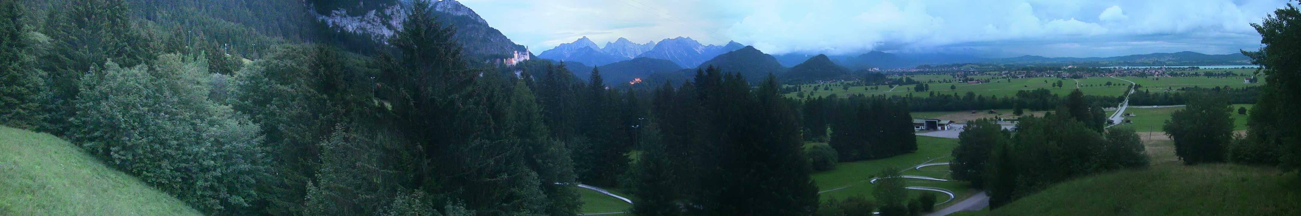 HD Panoramawebcam Bergstation der Hörnleschwebebahn Bad Kohlgrub, Blick auf Hörnle, Staffelsee, Bad Kohlgrub, Daniel, Zugspitze und Wettersteingebirge
